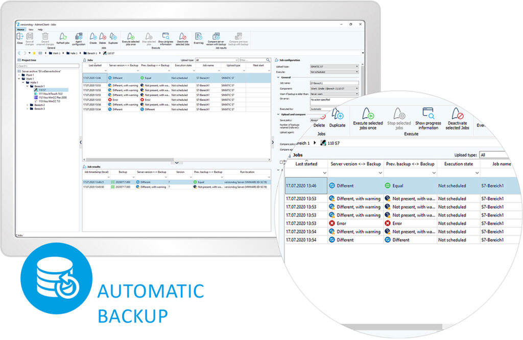Skjermbilde Versiondog: Automatisk backup.