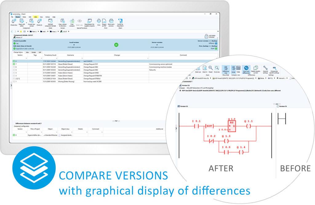 Versiondog skjermbilde: Compare