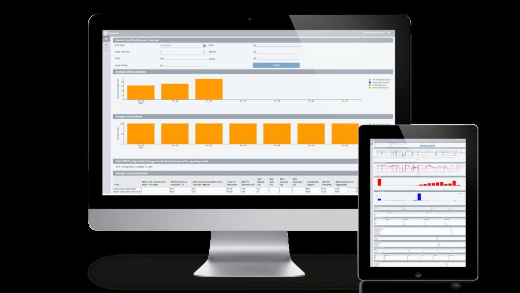 Mockup: GE Digital Proficy CSense på PC og nettbrett.