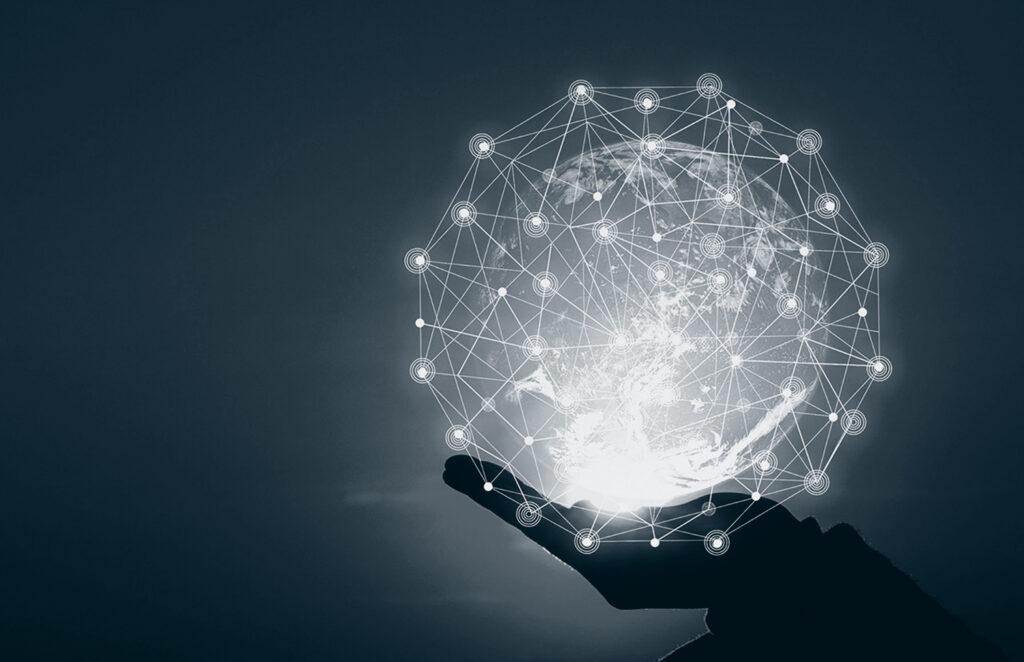 Lysende kule med sammenkoblinger, illustrerer kommunikasjon.