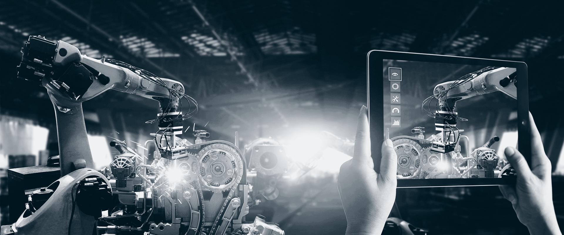 Digitalisering av produksjonsprosess i fabrikk.