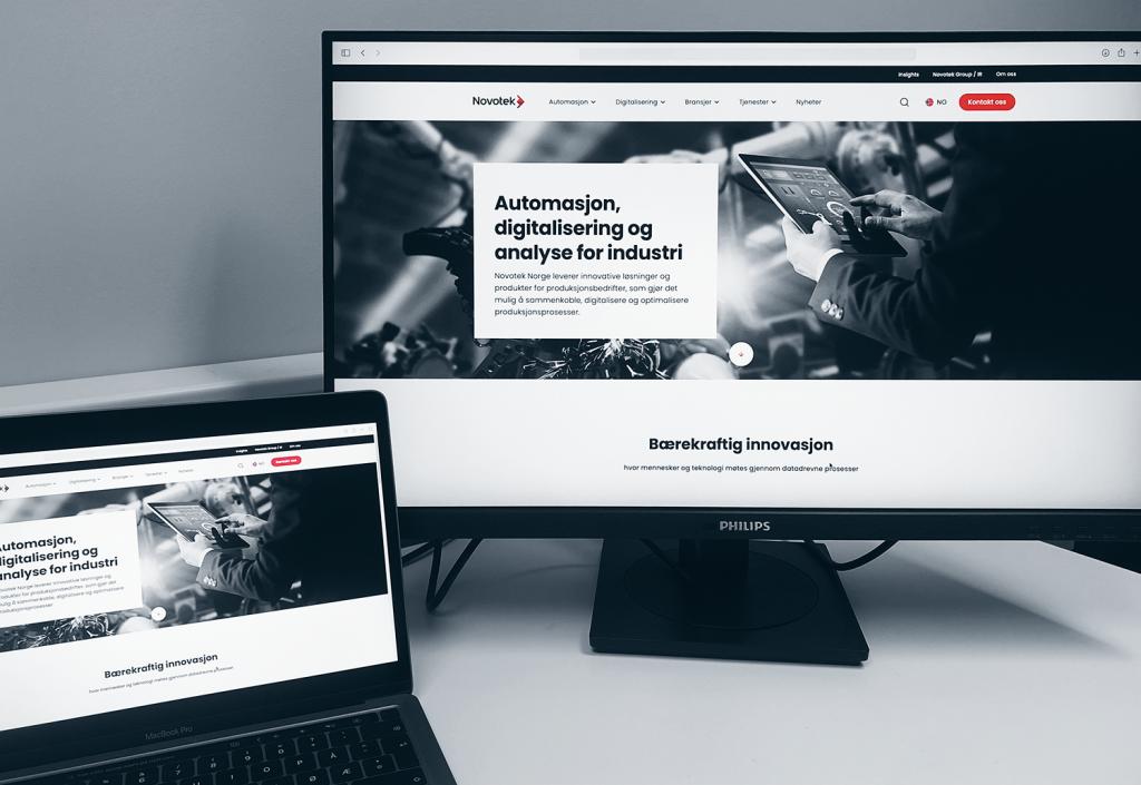 PC-skjermer viser Novoteks nye nettsider