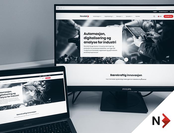 PC-skjermer med Novoteks nye nettsider